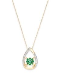Macy's Emerald 1 4 Ct. T.W. And Diamond Accent Pendant Necklace In 14K Gold Green