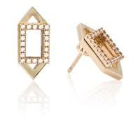Astrid And Miyu Rectangle Ear Jacket In Gold