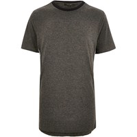 River Island Mens Dark Grey Sporty Trim T Shirt