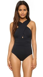Michael Kors High Neck Cross Front Maillot Black
