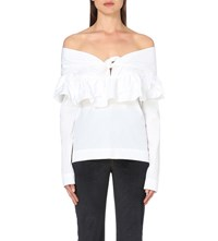 Isa Arfen Ruffled Off The Shoulder Cotton Top White