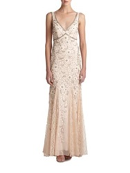 Sue Wong Beaded And Floral Embroidered Tulle Gown Ivory Blush