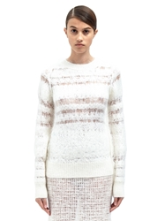 Calvin Klein Collection Womens Pip Hairy Striped Sweater Ln Cc