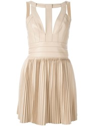 Dsquared2 Pleated Leather Dress Nude And Neutrals