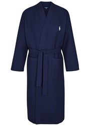 Ralph Lauren Navy Waffle Textured Cotton Robe