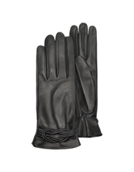 Forzieri Women's Black Leather Gloves W Knot