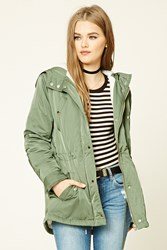 Forever 21 Satin And Faux Shearling Parka Olive