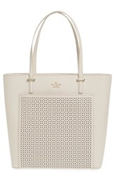 Kate Spade New York 'Cedar Street Tayler' Perforated Leather Tote Ivory Crisp Linen