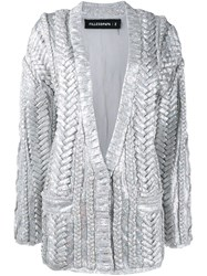 Filles A Papa Braided Sequin Cardigan Metallic