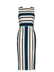Dolce And Gabbana Sleeveless Riga Striped Silk Blend Dress Blue Print