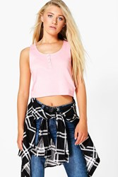 Boohoo Popper Front Crop Cotton Vest Peach