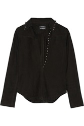 Anthony Vaccarello Studded Nubuck Top
