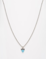 Asos Turquoise Aztec Necklace Silver