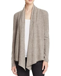 Aqua Cashmere Drape Front Cardigan Heather Brown Oatmeal Twist