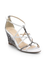 Alexandre Birman Python And Leather Wedge Sandals Bronze