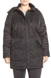 Plus Size Women's Vince Camuto Detachable Hood Quilted Anorak Black