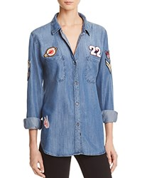 Rails Patch Denim Button Down Shirt Dark Vintage
