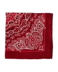 Neiman Marcus Bandana Print Silk Pocket Square Red