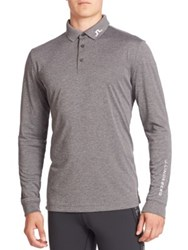 J. Lindeberg Heathered Long Sleeve Golf Polo Shirt Dark Grey Melange