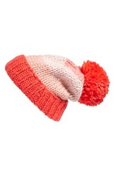 Kate Spade Women's New York Hand Knit Colorblock Beanie Red Persimmon Grove