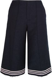 Sea Cropped Striped Wool Blend Felt Wide Leg Pants Navy