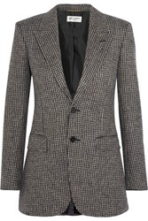 Saint Laurent Angie Wool Tweed Blazer Brown