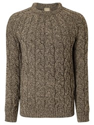 John Lewis And Co. Made In England Cable Saddle Knit Merino Jumper Grey