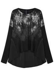 High Orbit Metallic Foil Print Jersey Top Black
