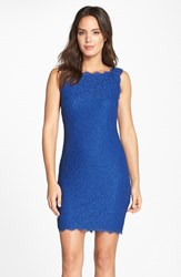 Women's Adrianna Papell Boatneck Lace Sheath Dress Prussian Blue
