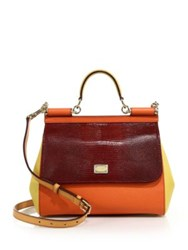 Dolce And Gabbana Multicolor Calf Leather Messenger Bag Orange Multi
