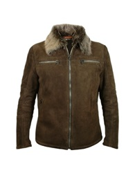 Forzieri Men's Dark Brown Shearling Jacket W Fur Collar