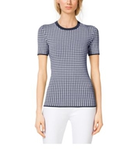 Michael Kors Gingham Stretch Viscose T Shirt Indigo White
