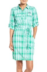 Columbia Women's 'Super Bonehead' Cotton Shirtdress Dark Lime Plaid