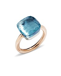 Pomellato Nudo Maxi Ring With Blue Topaz In 18K Rose And White Gold Blue Rose