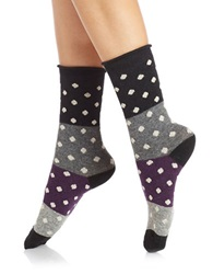 Free People Polka Dot Crew Socks Black Combo