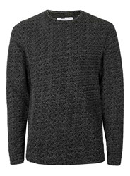 Topman Black And White Textured Slim Fit Long Sleeve T Shirt