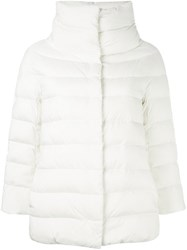 Herno Cropped Sleeve Padded Jacket White