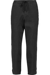 James Perse Cropped Stretch Wool And Cotton Blend Straight Leg Pants Charcoal