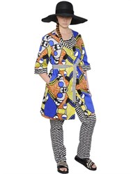 Marina Rinaldi Printed Stretch Cotton Pique Coat