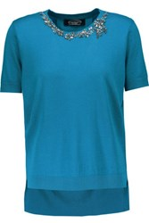 Magaschoni Embellished Silk And Cashmere Blend And Silk Crepe De Chine Top Cobalt Blue
