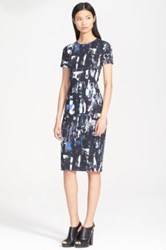 Mcq By Alexander Mcqueen Print Stretch Cotton Pencil Dress Blue