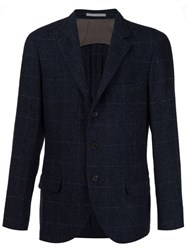 Brunello Cucinelli Checked Three Button Blazer Blue