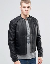 Jack And Jones Faux Leather Biker Jacket Black