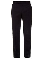 Alexander Mcqueen Raw Edge Tailored Wool Trousers Navy