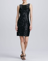 Sue Wong Jewel Neck Sequined Cocktail Dress