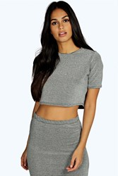 Boohoo Metallic Short Sleeved Crop Top Silver