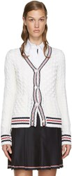 Thom Browne Off White Cable Knit Cardigan
