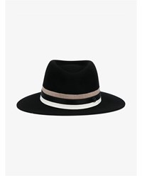 Maison Michel Thadee Wool Hat Black Brown White Denim