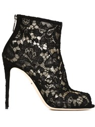 Dolce And Gabbana Floral Lace Booties Black