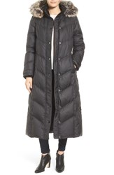 London Fog Women's Faux Fur Trim Quilted Maxi Coat